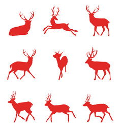 Red silhouettes of deer vector