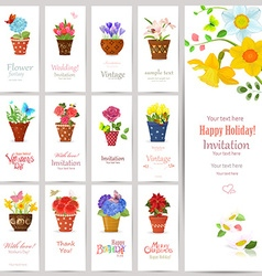 romantic collection of invitation cards with vector image vector image