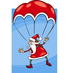 santa on parachute cartoon vector image