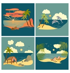 Sea landscape icons set vector image
