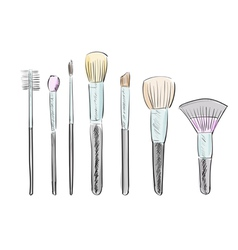 Set of hand drawn makeup brushes vector