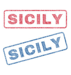 Sicily textile stamps vector