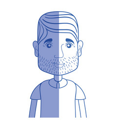 Silhouette man with beard and hairstyle vector