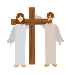 simon help jesus carry cross- via crucis vector image