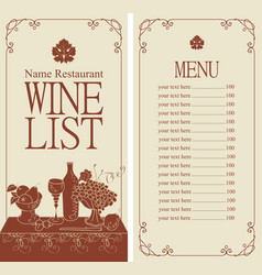 wine menu with price list and still life vector image