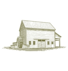Woodcut Mill vector image vector image