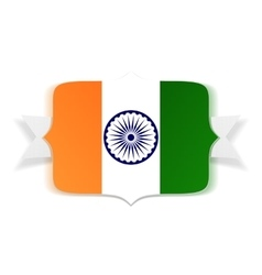 India flag on banner with ribbon vector