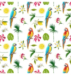 Tropical Background Parrot Bird Tropical Flowers vector image