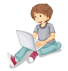 Laptop and boy vector