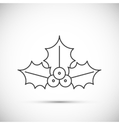 Christmas Holly thin line icon vector image