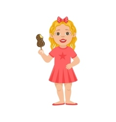 White girl kid standing with ice-cream part of vector