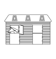 Horse stable icon in outline style isolated on vector