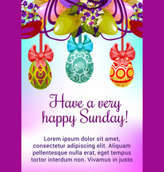 Easter egg floral wreath for spring holiday design vector