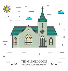 thin line icon church vector image