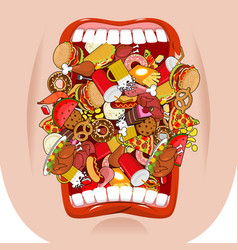 widely open mouth lot of food absorption of feed vector image