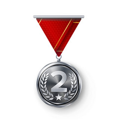 Silver medal  metal realistic second vector