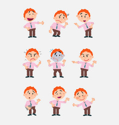Businessman character in a set with 9 variations vector