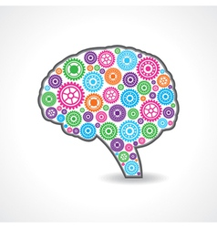 Creative mind or brain with colorful gears vector
