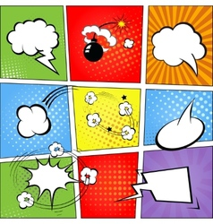 Comic speech bubbles and comic strip background vector