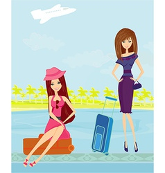 Beauty travel girls with baggage vector