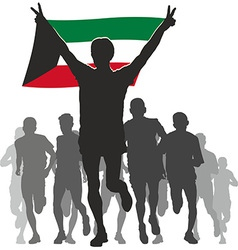 Athlete with the kuwait flag at the finish vector