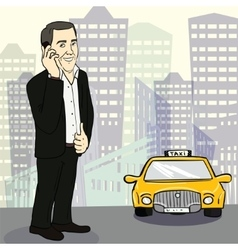 Man in suit catching taxi on the street vector