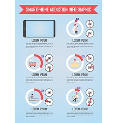 Smartphone and internet addiction infographics vector