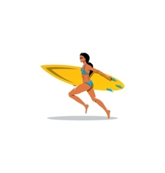 Beautiful surfer girl with surfboard sign vector