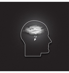 Icon of human head idea in your mind dark vector
