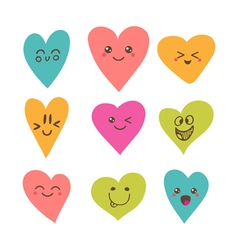 Funny happy smiley hearts cute cartoon characters vector