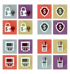 Concept of flat icons with long shadow finance vector