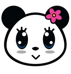 Cute panda girl with big eyes vector
