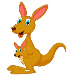 Cute cartoon kangaroo carrying a cute joey vector