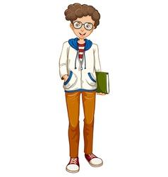 A boy holding a book vector image vector image