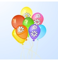 Balloons in the form of a circle with flowers vector