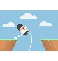 Businessman pole vault across the cliff vector image vector image