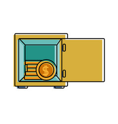 Color strong box object with shield security vector