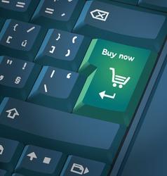 Computer keyboard with shopping key vector image vector image