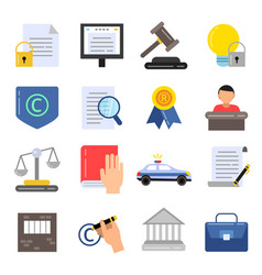 copyright legal regulations business icons of law vector image
