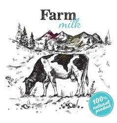 Cow farm landscape poster vector