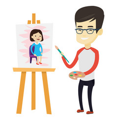 Creative male artist painting portrait vector