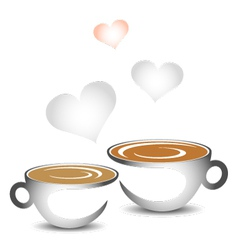 cup of coffee with hearts vector image vector image