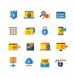 Cyber security virus web protection flat vector