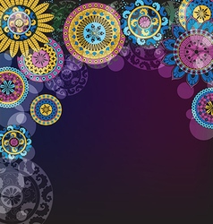 Dark background with circles and mandalas vector image vector image
