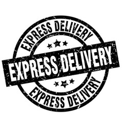 Express delivery round grunge black stamp vector