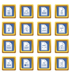 File format icons set blue vector