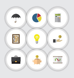 Flat icon incoming set of hand with coin graph vector