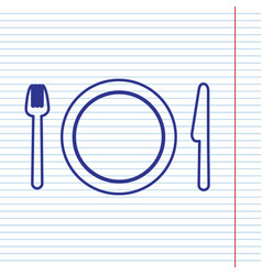 Fork plate and knife navy line icon on vector