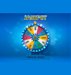 fortune wheel spinning on bokeh background vector image vector image
