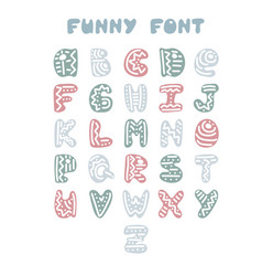 funny hand-drawn english alphabet vector image